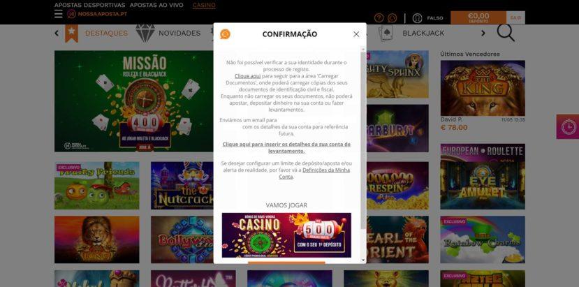 NossaAposta.pt Casino Registo Passo nº3