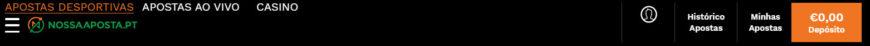 NossaAposta.pt barra de navegação