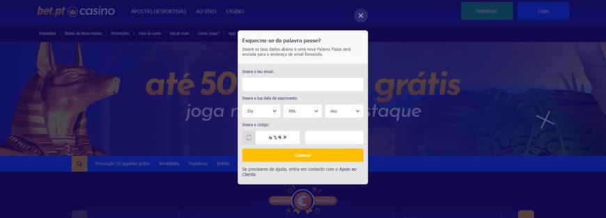 Registo Bet pt casino password
